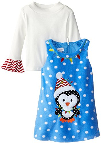 Bonnie Jean Little Girls' Dress Penguin Dot Fleece Jumper Set, Turquoise, 3T