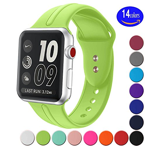 Sundo Apple Watch Band Silicone 38mm 42mm, Iwatch Replacement Wrist Strap Bracelet Band for Apple Watch Nike+ Sport Edition Series 1 Series 2 Series 3 (Green 38 SM) (Silicone Sport Bracelet)