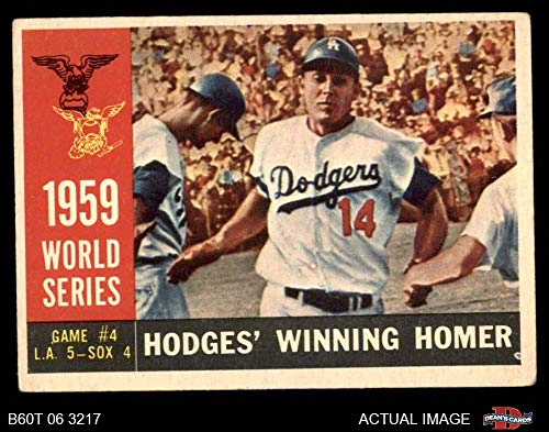 1960 Topps # 388 1959 World Series - Game #4 - Hodges Winning Homer Gil Hodges Los Angeles/Chicago Dodgers/White Sox (Baseball Card) Dean's Cards 2 - GOOD Dodgers/White Sox ()