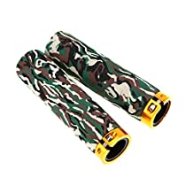 1Pair Soft Comfortable Sponge Camouflage 2Pcs Non-slip Lock on MTB Bicycle Handlebar Grips with Hex Wrench - Army Green