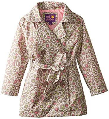 Pink Platinum Girls' Multicolor Animal Trench Jacket