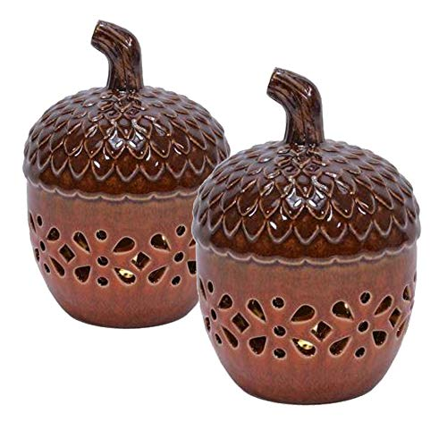 ReLive 6 inch LED Lighted Fall Ceramic Brown Acorns Decor, 2-Pack (Acorn Inside)