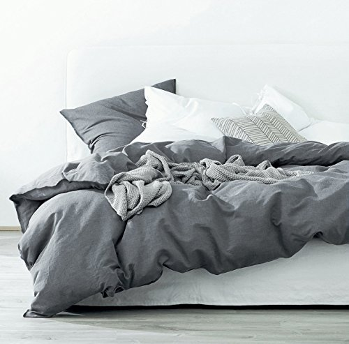 Eikei Washed Cotton Chambray Duvet Cover Solid Color