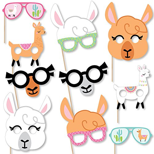 Big Dot of Happiness Whole Llama Fun Glasses & Masks - Paper Card Stock Llama Fiesta Baby Shower or Birthday Party Photo Booth Props Kit - 10 Count -