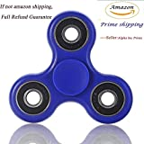 Prime Only Fidget Spinner High Speed Stainless Steel Bearing ADHD Focus Anxiety Relief Toys-(Blue-Black)