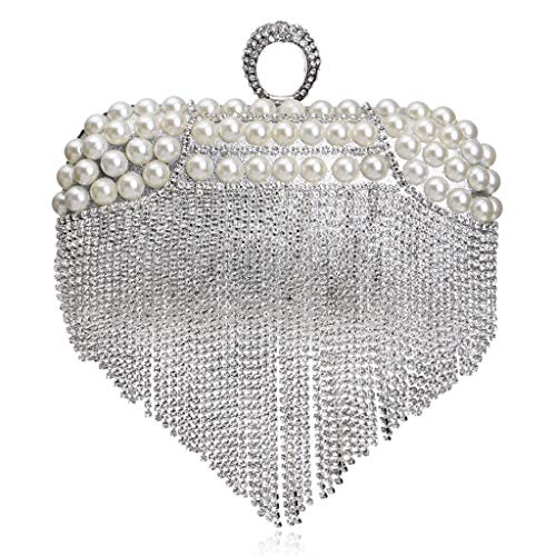 Party Fringes Banquet silvery Bag Pearls JUZHIJIA Hand Luxurious Bride'S Evening Handbags Club Bag Ritual Night Shoulder 0Sqvqpx
