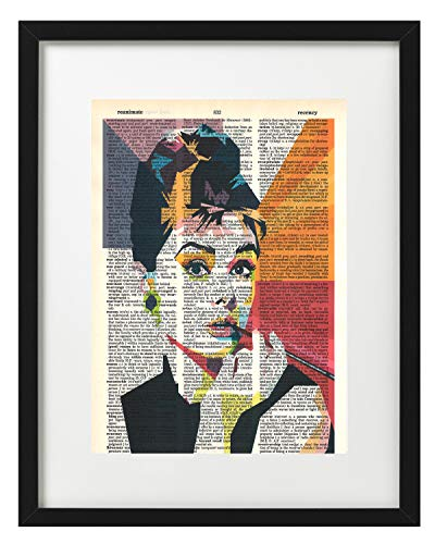 Signature Studios Audrey Hepburn photo Hollywood Actress vintage dictionary art wall decor prints 8x10 -