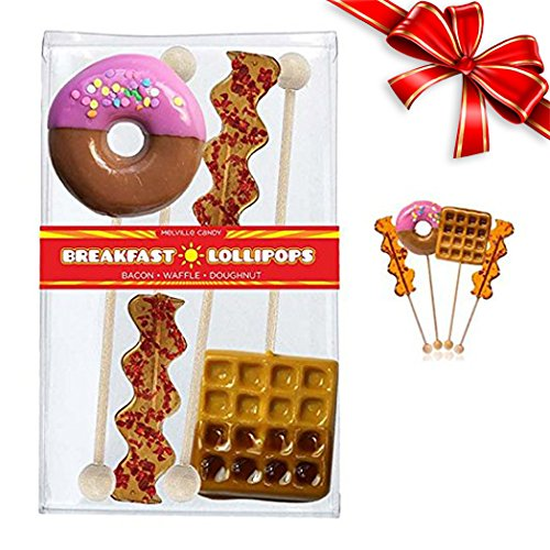 Big Giant Lollipops Unique Candy Box Set Featuring Bacon, Donut, and Waffle with Maple Syrup Flavored Candy Maple Bacon Lollipops