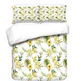 iPrint Duvet Cover Set,Watercolor,Hibiscus Flora Pattern Hawaii Plants with Leaves Jungle Summer Foliage,Yellow Green White,Best Bedding Gifts for Family Or Friends