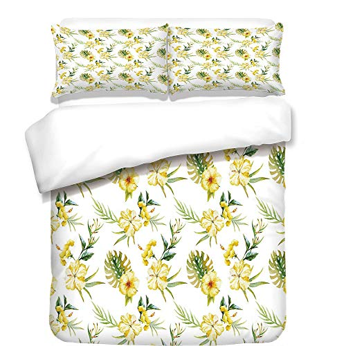 iPrint Duvet Cover Set,Watercolor,Hibiscus Flora Pattern Hawaii Plants with Leaves Jungle Summer Foliage,Yellow Green White,Best Bedding Gifts for Family Or Friends by iPrint