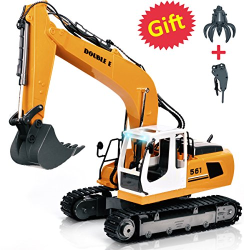 Double E 17 Channel Three in one RC Excavator Metal Shovel Remote Control Construction Tractor with 2 Bonus Drill and Grasp (Digger With Remote Control)