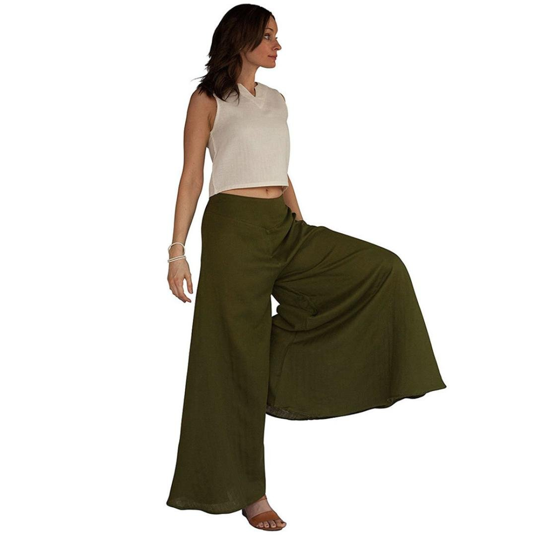 Paymenow Womens Fashion Casual Wide Leg Pants Horn Loose Trousers Flares Pants Culottes Trousers (L, Army Green)