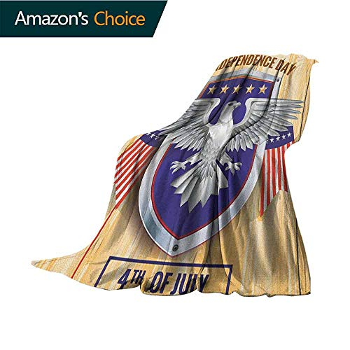 4th of July Couch Blanket,American Bald Eagle and Flags Pattern on a Heraldic Emblem Design Wooden Board Blanket for Sofa Couch TV Bed All Season,70