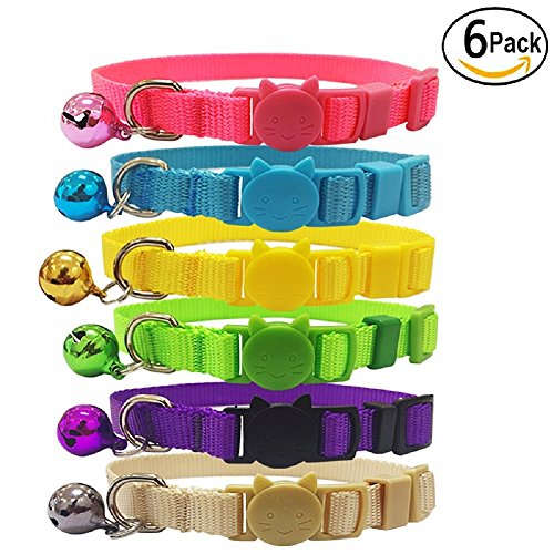 The Creativehome Cat Collars Nylon Soft Colorful Adjustable Breakaway Safety Kitten Collars with Bell 6pcs/set by The Creativehome (Image #6)