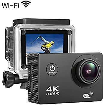 "Sports Action Camera 4K 16MP Ultra HD Waterproof Sports Camera 170°Wide Angle/ 2"" LCD IPS Screen/ 2.4G Remote/ 30m Waterproof / WiFi Underwater Video Cam for Cycling Swimming Snorkeling"