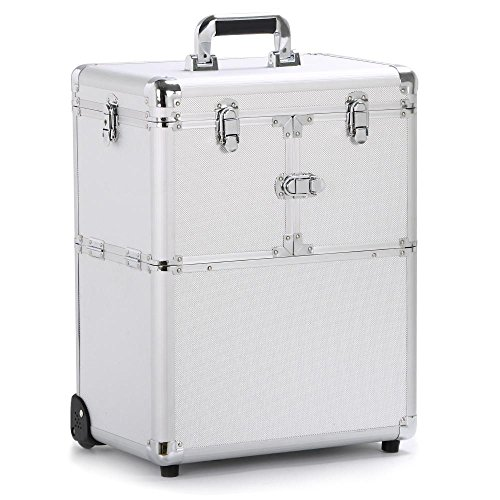 Yaheetech 19'' Professional Rolling Makeup Case Cosmetic Train Case Trolley Beauty Train Case Cosmetic Organizer w/Handle,1 well-designed mirror included,Silver (Rolling Professional Makeup Case)