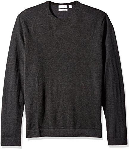 Calvin Klein Men's Merino Tipped Crew Neck Sweater, Dusty Black, 2X-Large by Calvin Klein