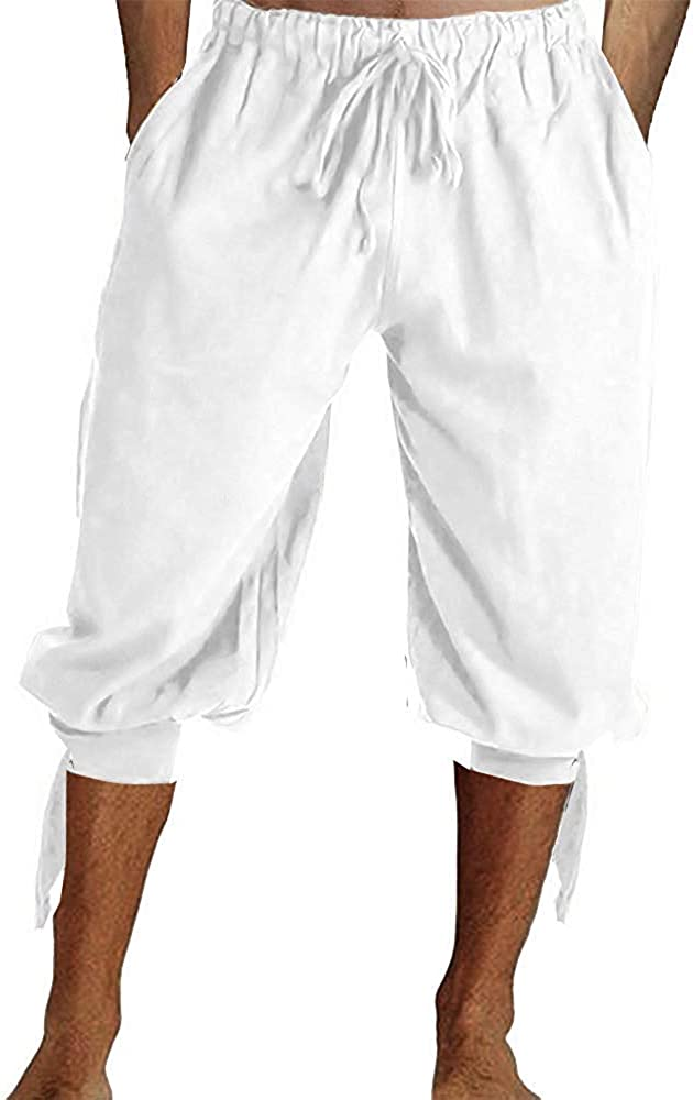 Mens Pirate Pants Medieval Renaissance Costume Viking Banded Lace Up Knee Length Cotton Shorts