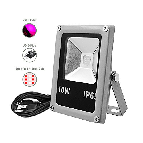 Floodoor 10W 110V LED Plant Growing Flood Light with US 3 Pins Plug Hydroponic Flower Vegetable Plant Garden Greenhouse Indoor Cultivation Lamp
