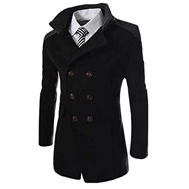3caefb619d6 HUFCOR Mens Winter Stylish Wool Blend Double Breasted Military Pea Coat  Slim Fit Long Sleeve Casual Jacket at Amazon Men's Clothing store: