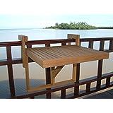 Stockholm Adjustable Folding Balcony Deck Table Hanging Patio Railing Table (Golden Teak) by INTERBUILD