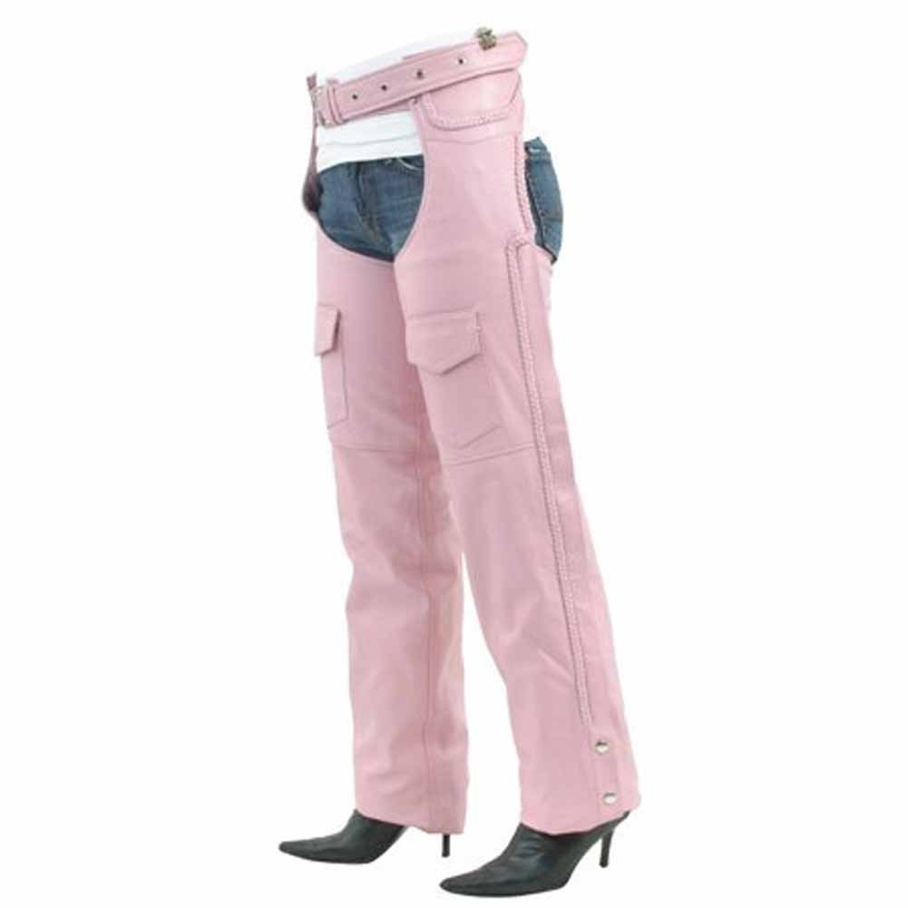 Black, XXX-Small Milwaukee Womens Low Rise Double Buckle Leather Chaps
