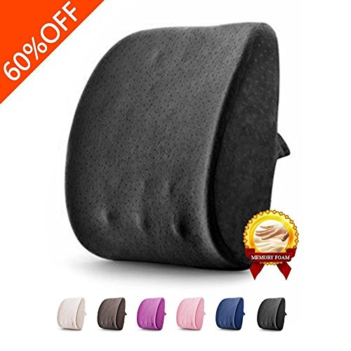Lumbar Pillow By Balichun 3D Breathable Memory Foam Back Support Massage Granules Pillow Lumbar Support Pillow Cushion Pillow for Car Office Chair and Travel Pillow for Back Pain and Sciatica (Black)
