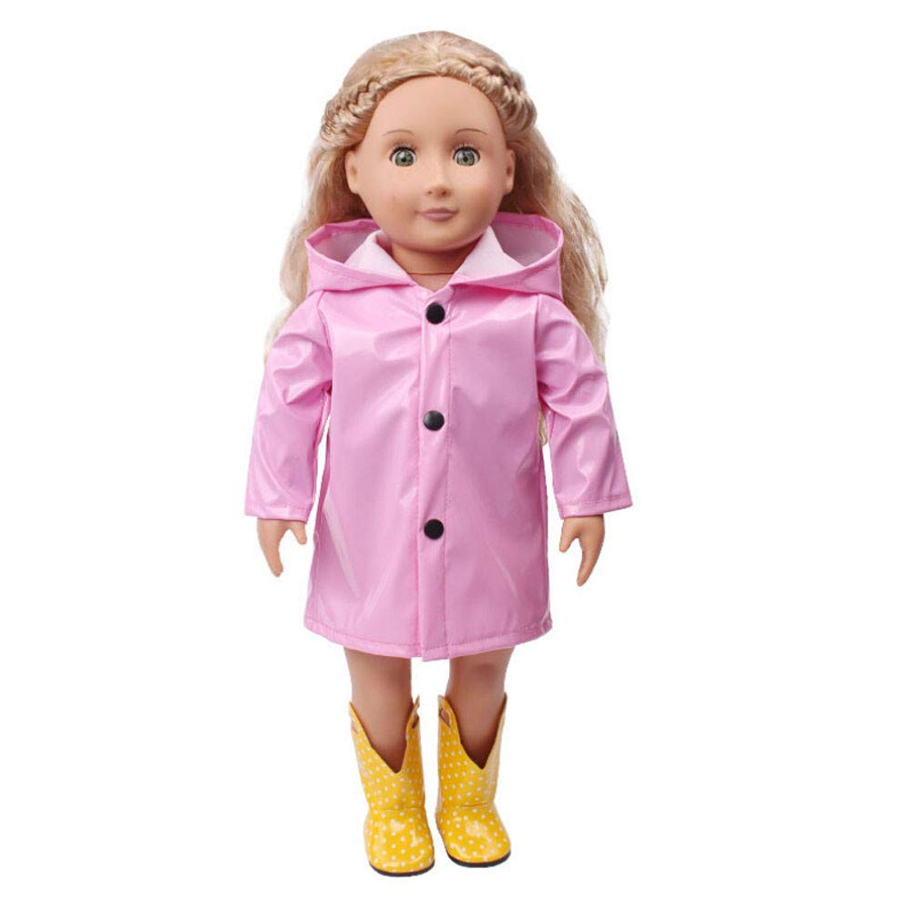 Kasien Doll Rain Clothes, Rain Clothes Dress Hat For American Girl 18 Inch Doll Accessory Girl Toy (Pink)