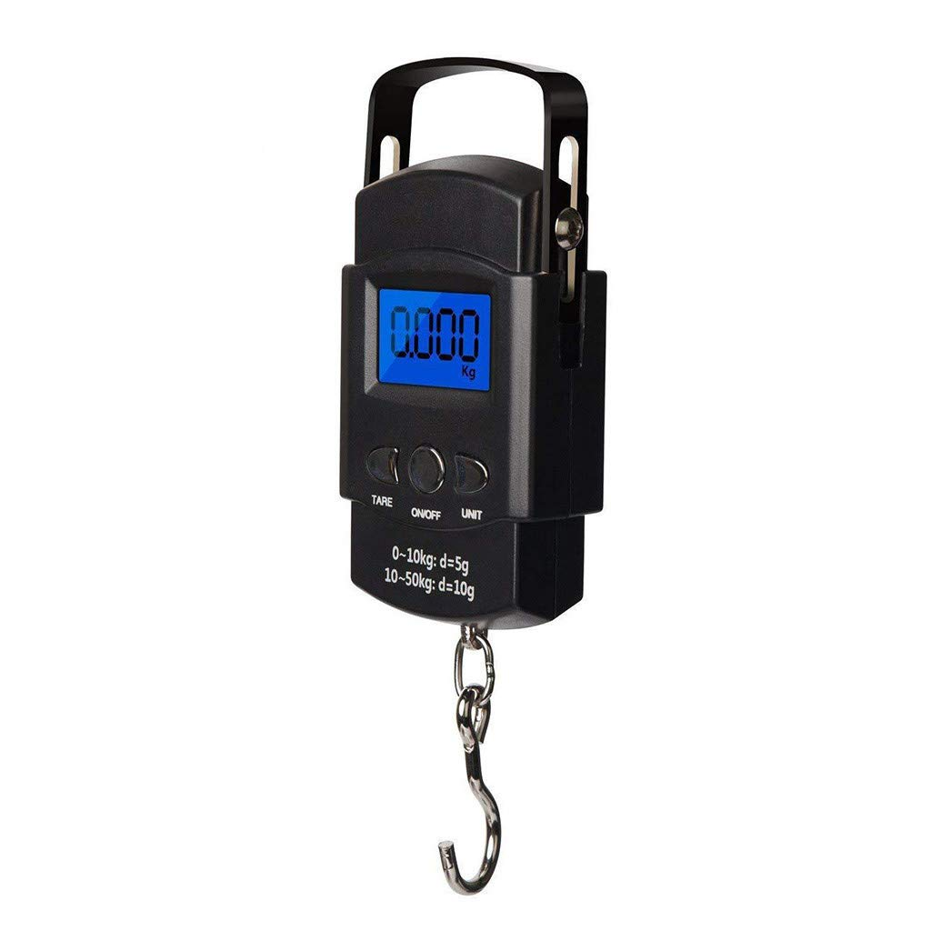 Fasclot Digital Scale Multifunction 50kg x 10g Electronic Weight Fish Scale Portable Rubber Hanging Hook for Kitchen,Fishing,Food,Shipping,Postal