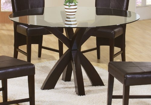 Dining Brown Table Glass (Coaster Home Furnishings 101071 Casual Dining Table Base, Deep Merlot Finish(Glass not included))