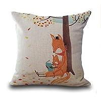 "LYN? Cotton Linen Square Throw Pillow Case Decorative Cushion Cover Pillowcase for Sofa Color Fox 18""X 18"" ¡"