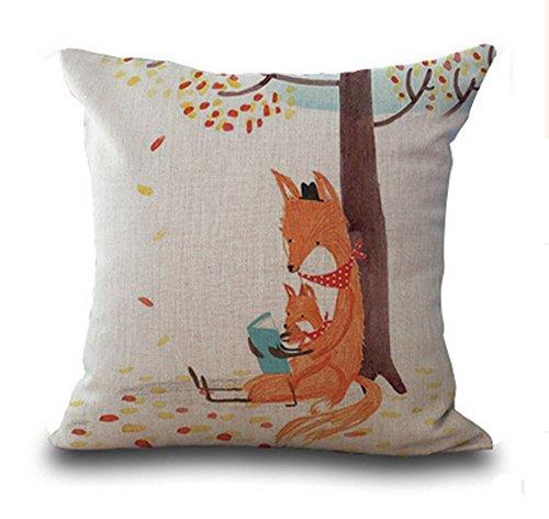 Lyn? Cotton Linen Square Throw Pillow Case Decorative Cushion Cover Pillowcase for Sofa Color Fox 18