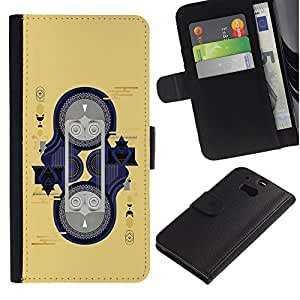 ARTCO Cases - HTC One M8 - Poker Cards Diamond Queen Art - Cuero PU Delgado caso Billetera cubierta Shell Armor Funda Case Cover Wallet Credit Card