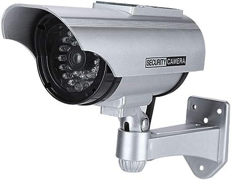 Opinión sobre Cámara simulada para Interiores/Exteriores, cámara de Seguridad de Falso de cámara CCTV de Bala con LED Rojo Intermitente(Silver)
