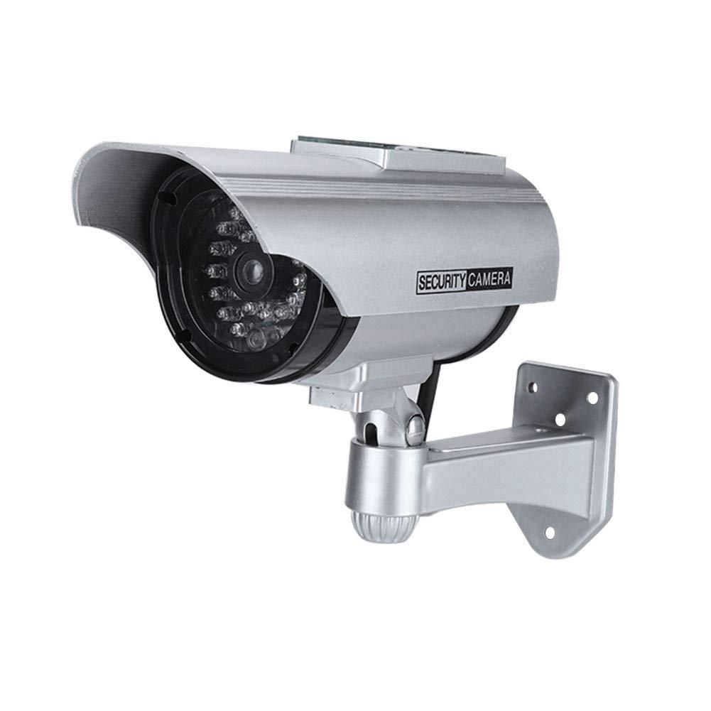 Black Outdoor CCTV Surveillance Security Analog False Camera Support LED Record Solar Powered Fake Camera