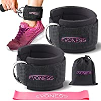 EVONESS Ankle Straps for Cable Machines and Resistance Band Plus Carry Bag– Premium Fitness Ankle Straps Attachment for Weightlifting and Workout with Ankle Cuffs for Legs, Abs and Glute Exercises