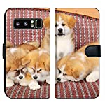 MSD Premium Phone Case Designed for Galaxy Note 8 Flip Fabric Wallet Case Image ID: Young Pets Four Akita Inu Puppy Dogs at Couch Group of Animals Image 2600 6
