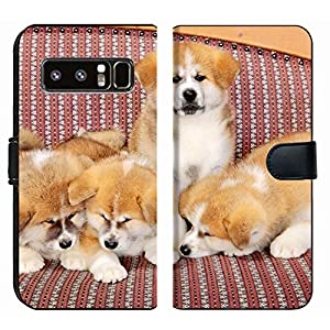 MSD Premium Phone Case Designed for Galaxy Note 8 Flip Fabric Wallet Case Image ID: Young Pets Four Akita Inu Puppy Dogs at Couch Group of Animals Image 2600 5