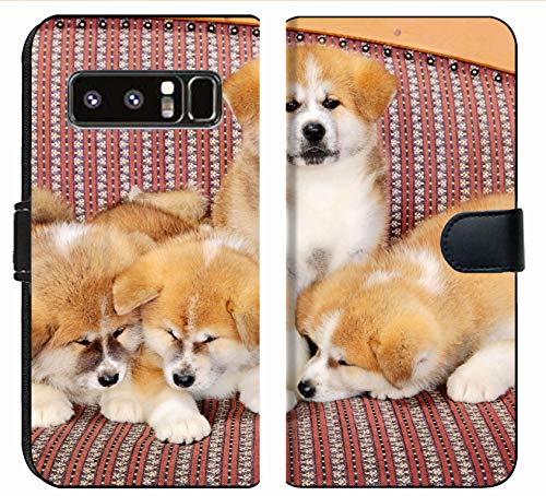 MSD Premium Phone Case Designed for Galaxy Note 8 Flip Fabric Wallet Case Image ID: Young Pets Four Akita Inu Puppy Dogs at Couch Group of Animals Image 2600 1