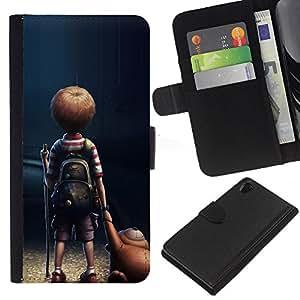 All Phone Most Case / Oferta Especial Cáscara Funda de cuero Monedero Cubierta de proteccion Caso / Wallet Case for Sony Xperia Z2 D6502 // Mom Mother Cute Kid Son Night