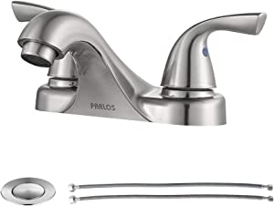 PARLOS Two-Handle Bathroom Sink Faucet with Drain assembly and Supply Hose, Lead-free cUPC,Brushed Nickel,13622