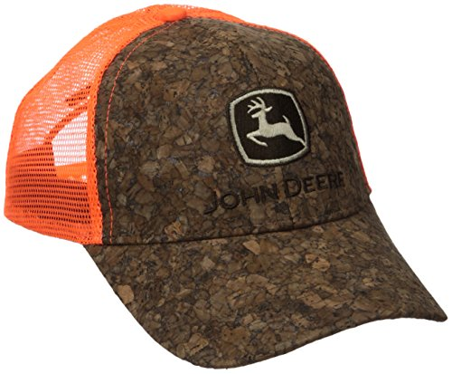John Deere Men's Tree Bark Orange Mesh Cap, Brown, One Size