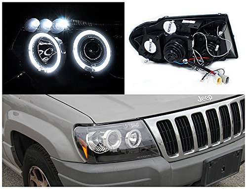 Spec-D Tuning 2LHP-GKEE99JM-TM Jeep Grand Cherokee Black Halo Led Projector Head Lights by Spec-D Tuning