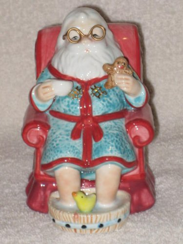 2005 Waterford Holiday Heirlooms - Santa Teatime Porcelain 5 Inch Bell