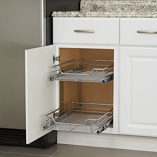"""51Z0jzfnwBL. AC Household Essentials C21521-1 Glidez Dual 2-Tier Sliding Cabinet Organizer, 14.5"""" Wide, Chrome    This sliding under cabinet organizer has 2 independently sliding tiers and is 14.5""""W x 21""""D x 15.5""""H. Household Essentials glidez dual slide under cabinet sliding organizers attach to the bottom of kitchen and bathroom cabinets to quickly bring the back of the cabinet in reach. Their 2-tier of baskets slide in and out of the cabinet independently, making the bottom basket easier than ever to get into. These industrial organizers are made from premium chromed steel, with thicker, stronger wire than the competition. The sturdy vertical glides 2 inches tall and support up to 88 lbs. Glidez organizers create a custom kitchen with organization that fits your cabinets' width, depth, and height. Organizers slide all the way out of the cabinet, clearing the door completely when installed as directed. This means less bending and reaching to get to whatever you store in your cabinets. Perfect for kitchen storage, bathroom, storage, and even closets and pantries (glidez organizers can attach to commercial shelving with cb2000-6 brackets, sold separately) tailor your cabinet space and bring the back of the cabinet to you with glidez under cabinet storage and organization. Dual slide glidez under cabinet organizers are 15.5 inches high and 21 inches deep. They are available in 11.5 and 14.5 inch wide options."""