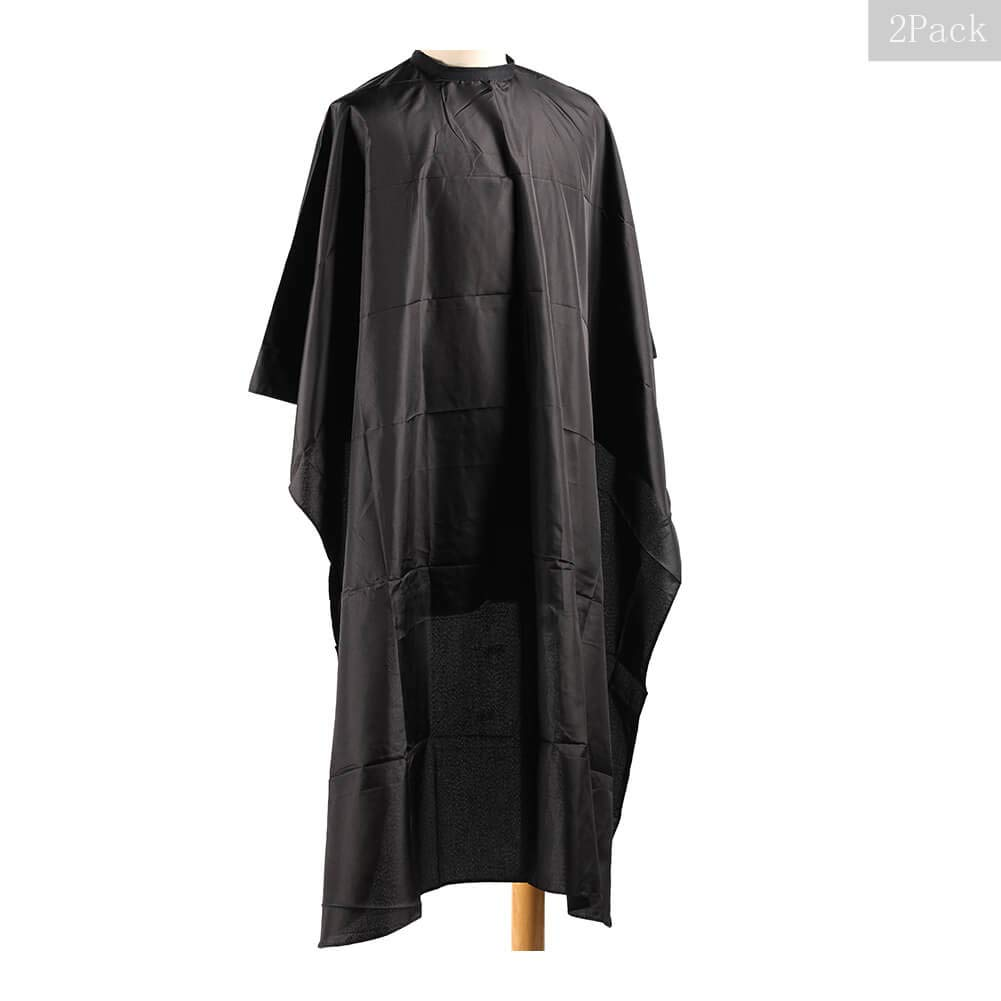 65x49inch Professional Hair Salon Cape with Adjustable Snap Closure, Black Waterproof Hair Cutting Coloring Styling Gown, Beauty Supplies Makeup Cape Hairdressing Cape for Hair Stylist (2pcs) by Aiwaiufu