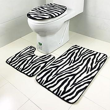 Zebra Leopard Rechteckig Drei Teile Bad Teppich Wc Bad Set Von 3