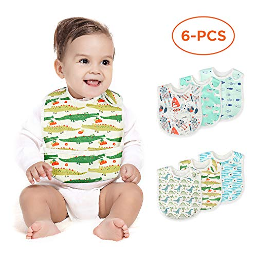 Baby Waterproof Bib, Mifiatin Boy Toddler Drooling Feeding Bibs 6 Pcs(0-3year)