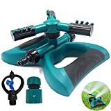Cybbo Lawn Sprinkler, Automatic 360 Rotating Adjustable Garden Water Sprinklers Lawn Irrigation Lawn Irrigation System Covering Large Area with Leak Durable 3 Arm Sprayer