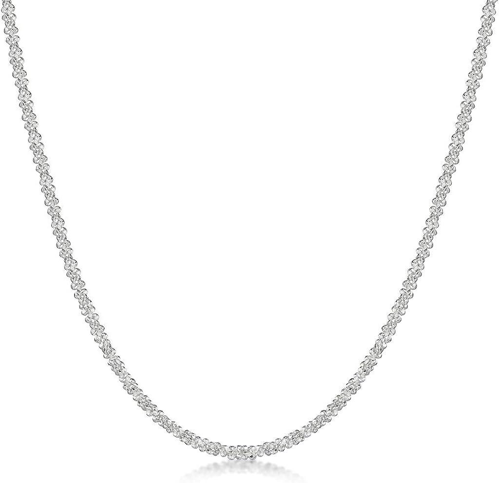 Cha/îne Argent 925//1000 Collier Amberta/® Bijoux Largeur 2 mm Longueur 40 45 50 55 cm Maille Diamant/ée